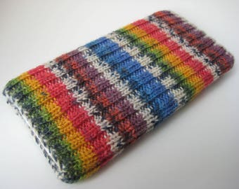hand knitted wool iPhone 6 sock - mobile phone cosy - cellphone sock - iPhone case - smartphone sock - iPhone 7 sock - rainbow phone sock