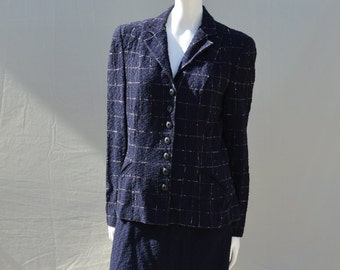 Vintage 40's dress suit plaid red white and blue pattern WWII era suit skirt and jacket size M from SALTA NYC by thekaliman