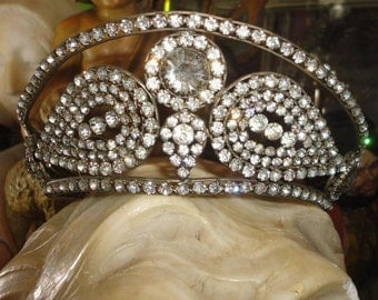 Magnificent antique  French Dazzlingly beautiful large Rhinestone & Smooky  Crystals Tiara Crown Diadem, ca.1880