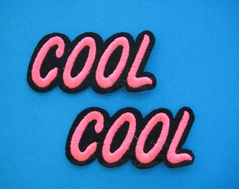 SALE~ 2 pcs Iron-on Embroidered Patch COOL 2.5 inch