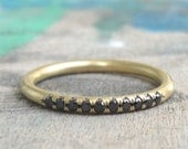 Black Diamond wedding band , Hulf Eternity Band , Pave Black Diamond Wedding Band , Diamond Eternity Ring , Thin Diamond Band
