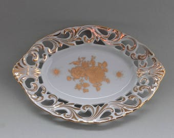 Porcelain Plate Flowers Gold White Vintage Excellent Work And Color Germany