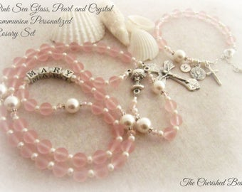Pink Sea Glass, Swarovski Pearl and Crystal Personalized Communion Rosary Set - Heirloom Communion - Sea Glass Rosary - Girls Rosary
