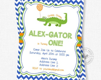 Alligator Birthday Invitation, Alligator Party Invite, Gator Invitation, Preppy Alligator Party Invitation, Boy Birthday