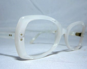 Vintage 60s Large White Pearly Frames
