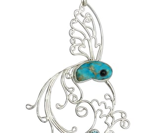 Sterling Silver Hummingbird Pendant, Blue Cabochon, Black Onyx, and Blue Topaz, poplj2792