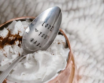 Love You Dad - Hand Stamped Vintage Coffee Spoon for your Coffee Lovin' Dad