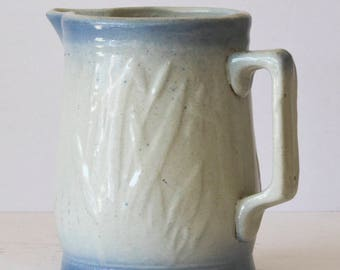 Vintage Salt Glaze Pitcher with Cattail Pattern