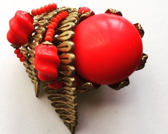 Miriam Haskell Red Brooch 1940s Beaded Rare Costume Jewelry