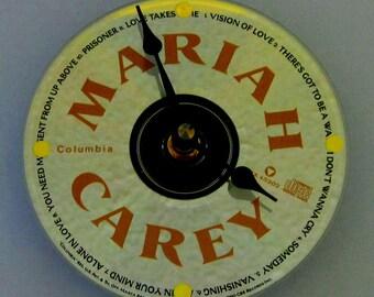 Mariah Carey clock. CD clock. Recycled CD. Mariah Carey.