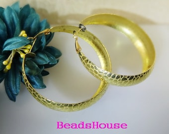2pcs - (1 pair)  55mm  Large Brass Hoop Earrings Brass  Hoop Earrings - Nickel Free