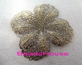 6pcs Antique Brass w/4 Petal Filigree,Nickel Free