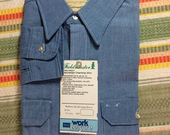 Vintage 1970's Deadstock Blue Chambray Work Shirt size Medium nwt Fieldmaster Sears