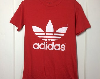 Vintage 1980's Red White Adidas Trefoil Logo T-shirt size Small 16x25.5 front and back print made in USA looks XS