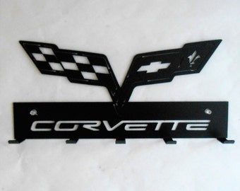 Corvette Racing Flags Emblem Key Rack Metal Art Wall Hanging