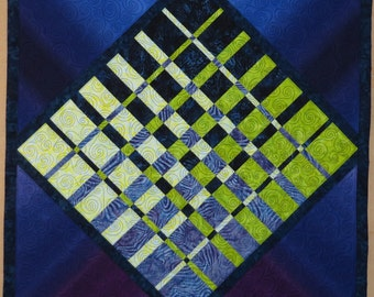 Evening Fall Modern Quilted Wallhanging blue green purple convergence