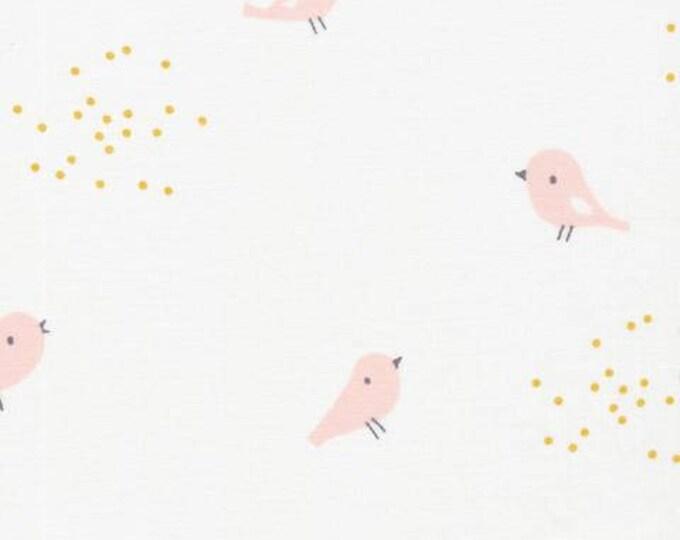 Organic Cotton Swaddle Fabric - Cloud9 Tout Petit Swaddle - Little Birds White