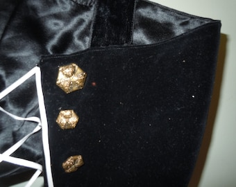 Antique vintage silk and black Velvet lace up Corset top with brass ornate buttons