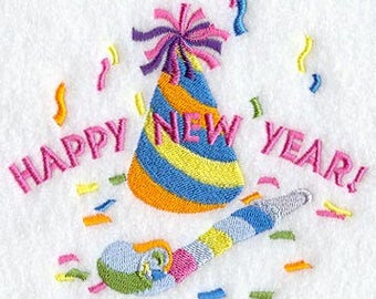 Happy New Year  Embroidered Terry Bathroom Hand Towel -- You Pick the Color--- Free Shipping
