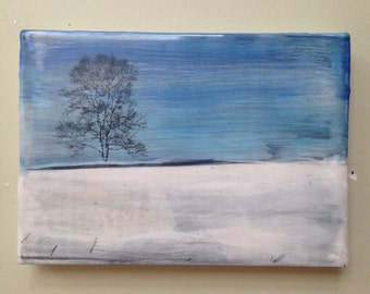 Winters Solace encaustic painting
