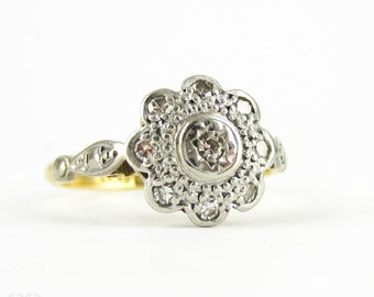 Vintage Diamond Flower Shape Engagement Ring, 1960s Diamond Cluster Ring in 18ct Gold & Platinum.
