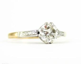 Diamond Solitiare Engagement Ring, Vintage Round Brilliant Cut 0.51 ct Diamond in Engraved 18ct & Platinum Setting.