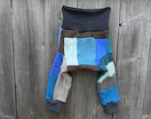 MEDIUM Upcycled Merino Wool Longies Soaker Cover Diaper Cover With Added Doubler Boy's Patchwork Scrappy MEDIUM 6-12M