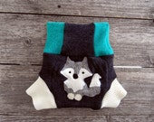 Upcycled Wool Soaker Cover Diaper Cover With Added Doubler Charcoal Gray/ Green/ White With Wolf Applique SMALL 3-6M Kidsgogreen