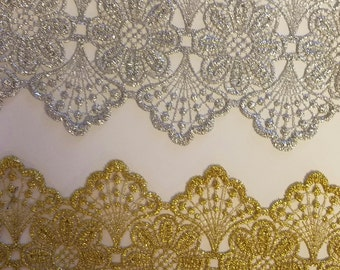 Metallic venice lace  gupuir in gold or silver for altered couture 15 yards wholesale