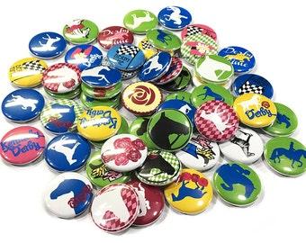 "Derby, 1"" Button, Derby Party Favor, Derby Pin, Derby Flatback, Derby Pinback, Derby Decor, Derby Theme, Horses, Derby Badge, Horse Pin, Pin"