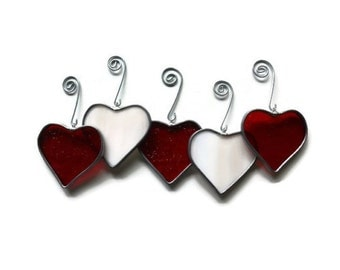 Stained Glass Hearts in Red and Iridized Pink - Set of 5