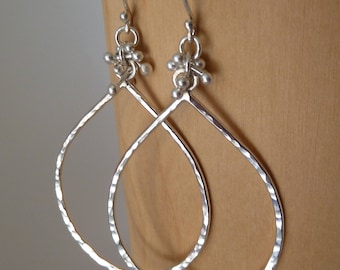 Silver drop earrings with caviar cluster. Fine .999 pure silver. Silver hoop earrings. Silver earrings. Silver jewelry. Ready to ship. Last
