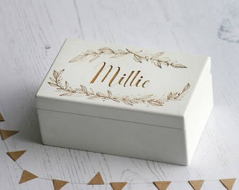 Personalised Wreath Music Box | Wind Up | Laser Engraved | New Baby Gift Or Christening Gift | White Painted Finish | Brahms Lullaby |