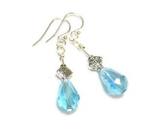 Blue Crystal Teardrop Earrings/ Sterling Silver Earring Wires/Light Blue Teardrop Earrings/Soft Blue Crystal/Pear Shaped Glass Beads