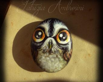 OWL N.37 -  Handpainted, rock painting, painted stone, miniature, painted rock, pebble, fine art