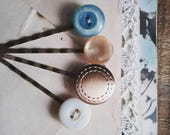 Hair Pin Set, Bobby Pins Made With Vintage Buttons, Retro Hair Accessories In Gold and Pastel, Gift Idea for Women and Teens