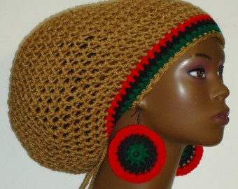 Pan-African Trim Crochet Large Tam with Drawstring and Earrings Red Black Green by Razonda Lee Razondalee