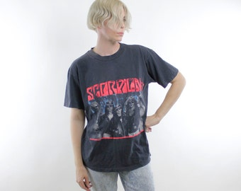 Vintage 1991 Scorpions Tour t-shirt, faded black cotton, front and back printing, some heavier fading on shouder - Large