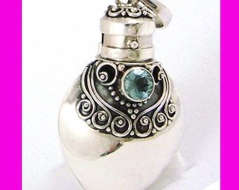 Sky Blue Topaz March December birthstone Sterling silver Heart Locket Prayer Box bottle Pendant with PR8