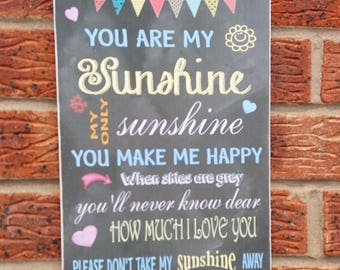 you are my sunshine chalk board effect wooden sign plaque
