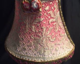"Pink Silk and Gold Bullion Lace and Trims Boudoir Lamp 16"" w/ribbonwork feature (FFsd9013)"
