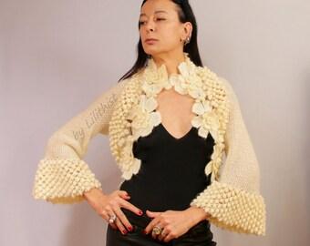 Ivory Bridal Shrug Bolero, Crochet Shrug, Crochet Bolero, Knit Shrug, Romantic Flower Bolero, Wedding Cover Up Bolero Jacket Knit Loop Shrug