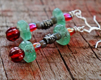 Rustic Handmade Earrings with Recycled Glass Pink Green Silver