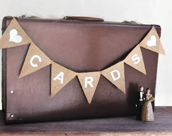 CARDS BANNER Small Hessian Burlap Wedding Celebration Engagement Party Bunting Decoration photo prop country woodland shabby chic boho