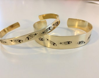Feathers Brass Stamped Bracelet, Designs, Names, Dates, Roman Numerals, Coordinates, Messages, #Instagram
