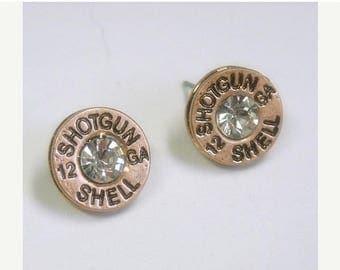 Sale| Bullet Earrings - Ammo Button - Western Jewelry - Copper - 12 Gauge Earrings - Rhinestone Shotgun Shell Casing Earrings - Bullet Jewel