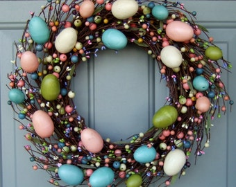 Easter Wreath - Easter Door Wreath - Easter Egg Door Wreath