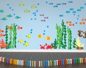 Under the Sea Decal, Whale Shark Fish Decal, Kids Decal, Nursery Wall Decal, Reusable Non-toxic NO PVCs, WD100