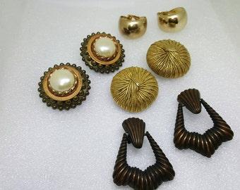 Bold Clip back  Earrings Retro Earring lot of 4 pair Plus Size