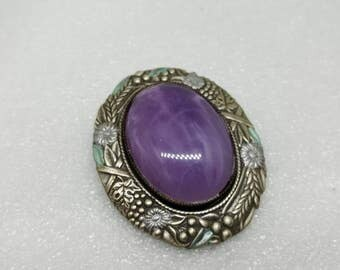 Oval Art Glass Brooch Purple with silver tone and Enamel flowers